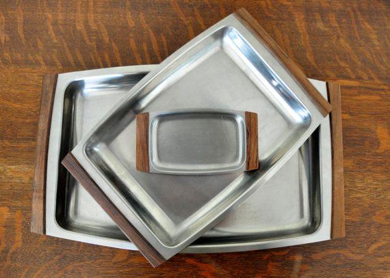 Vintage Selandia Serving Trays, Stainless Steel and Wood, Danish Modern, Scandinavian Design, Mid Century Modern, MCM