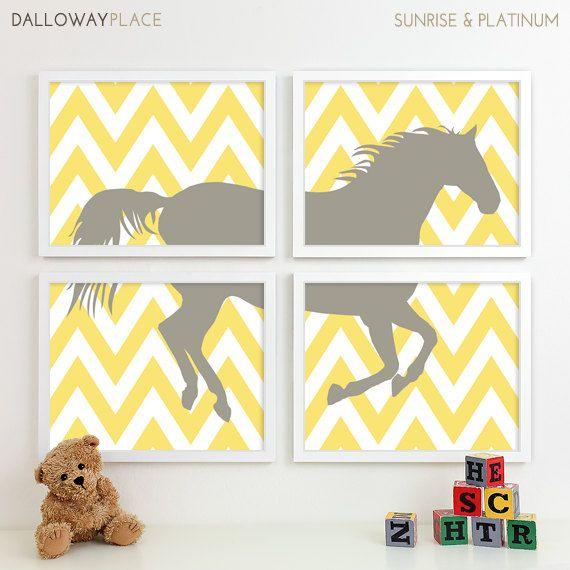 Zig Zag Chevron Horse Nursery Art Print Farm by DallowayPlaceKids, $60.00