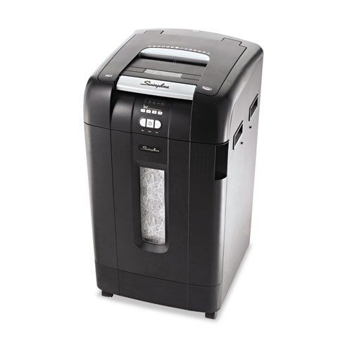 Swingline Stack-and-Shred 750X Hands-Free Cross-Cut Shredder, 750 Sheet Capacity. Sold as 1 EA. Spend less time shredding versus a traditional shredder--just stack, shut and you're done. Up to 750-sheet automatic shredding of legal- and letter-size sheets. Can shred up to 12 sheets at a time during manual feed shredding. Shreds documents, paper clips and staples. Credit cards must be manually inserted into rollers in auto feed chamber. DVDs and CDs can be shredded through a separate slot…