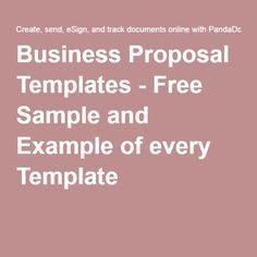 Business Proposal Templates - Free Sample and Example of every Template