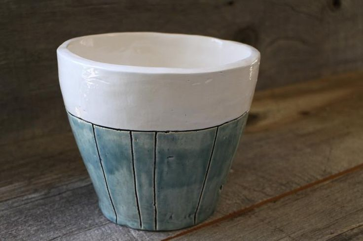 """Seaglass Stripe Ceramic Flower Pot (Large) This ceramic handmade planter will add a fun splash of colour to your plant or flower collection. There is a drainage hole at the bottom for easy watering.  Perfect for indoors or outdoors!  Dimensions are approx. 5.5 """" height x 6.5"""" diameter.  Made by Grow Studios (a social enterprise) in Ottawa, Ontario."""