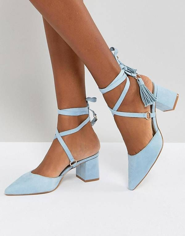 69c5c45ec RAID Kiley Light Blue Mid Heeled Tassel Shoes | wishlist | Light ...