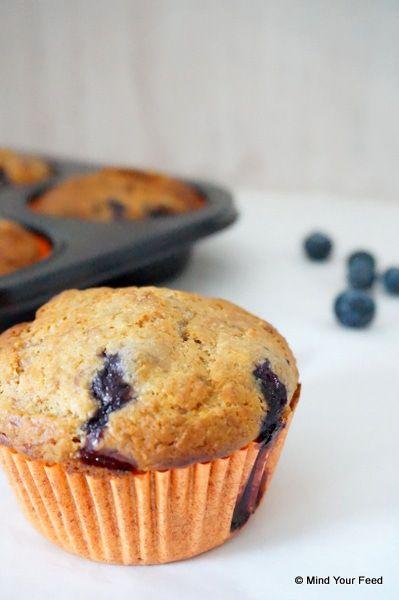 Spelt muffins met blauwe bessen - Mind your feed
