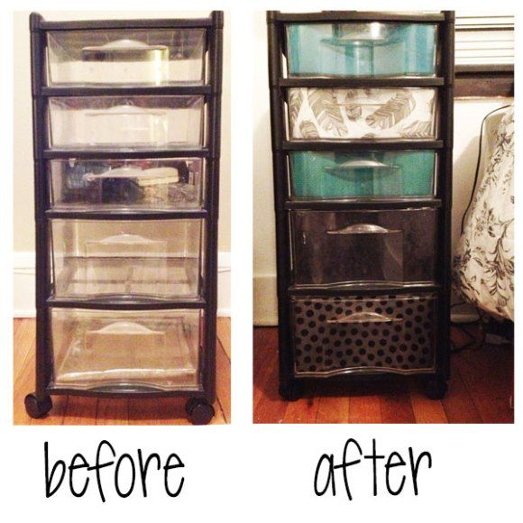 Dress Up Your Plastic Drawers! Turn this college staple from drab to fab!