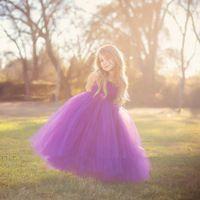 Великолепная фиолетовый пром ну вечеринку платье для маленьких девочек пушистые фиолетовый пачка цветок свадебное платье девушки с цветком створки PT63