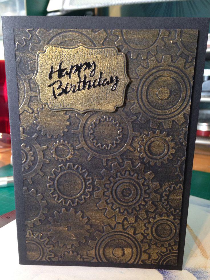 Cool Male Card Using Embossing Folder And Gilding Wax Funny Birthday Cards Online Drosicarndamsfinfo