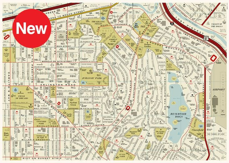 Cartographic Experiment by British designers We Are Dorothy | a fictional map of the movies loosely based on a vintage street map of Los Angeles featuring more than 900 places in films