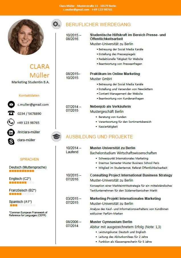 Aufbau Lebenslauf Profil Deutsch In 2020 Invitation Template
