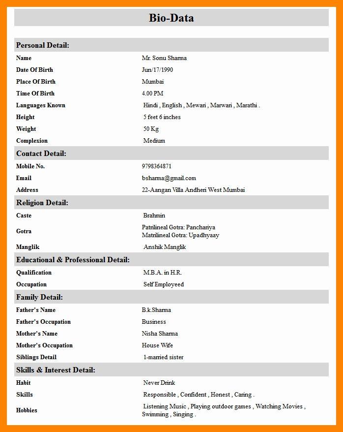 Marital Resume format Best Of 7 Marriage Resume format for Girl