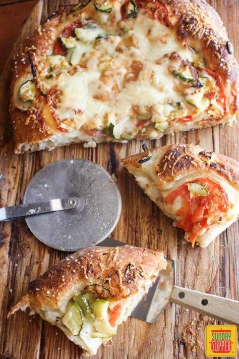 Zucchini Tomato Focaccia Bread #SundaySupper