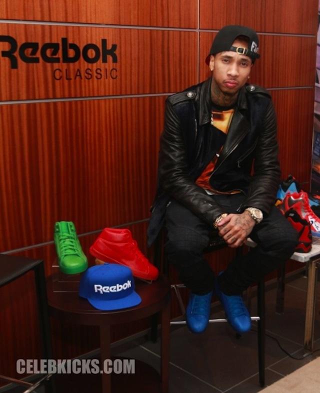 Tyga wearing Reebok Classics T-RAWW