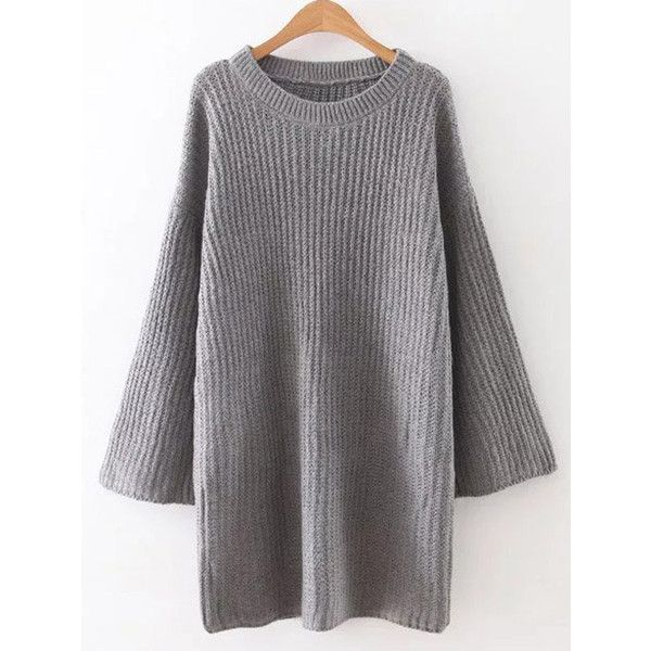 Loose Sweater Mini Dress (€27) ❤ liked on Polyvore featuring dresses, short dresses, mini dress, loose dresses, loose mini dress and loose fit dress