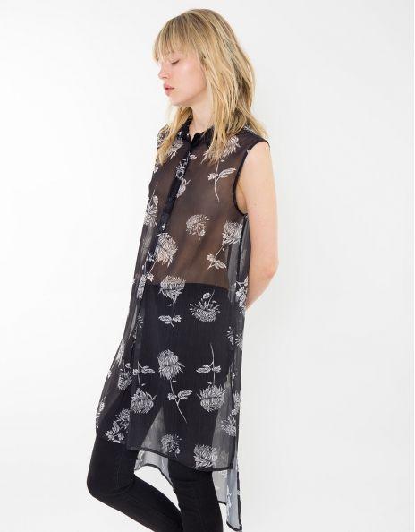 Camisas online para mujer larga de gasa estampada