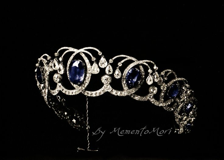 Diamond And Sapphire Tiara From The Russian Crown Jewels. The tiara is better know as Empress Maria Fedorovna Sapphire Kokoshnik Tiara.