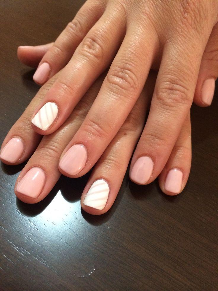 Baby pink & white nailart