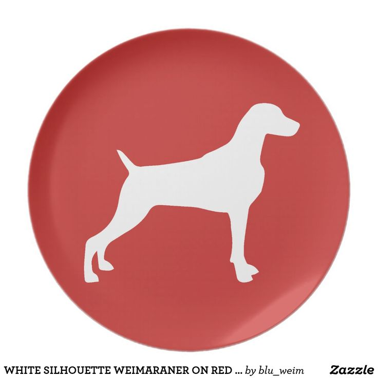 WHITE SILHOUETTE WEIMARANER ON RED PLATE