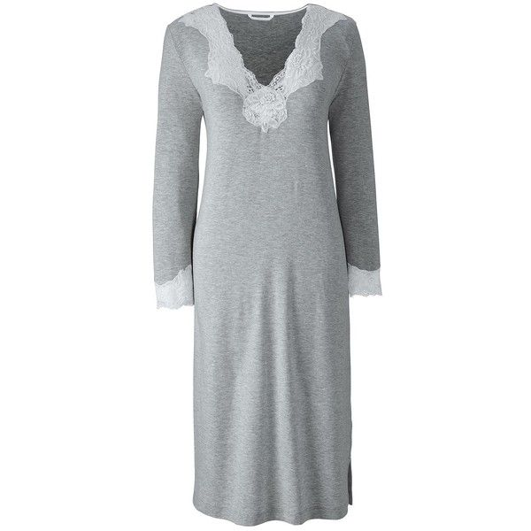 Lands' End Women's Petite 3/4 Sleeve Knee Length Nightgown ($45) ❤ liked on Polyvore featuring intimates, sleepwear, nightgowns, black, petite nightgown, lands end sleepwear, lands' end, petite sleepwear and lands end nightgown
