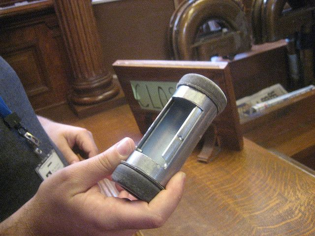 Pneumatic tube technology by askpang, via Flickr I remember when department stores used these for payment.