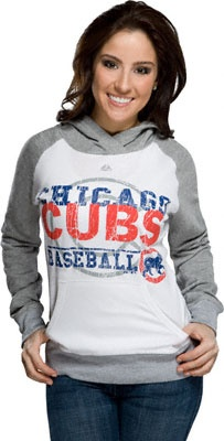 Chicago Cubs White Women's All Hooked Up Hooded Fleece Sweatshirt