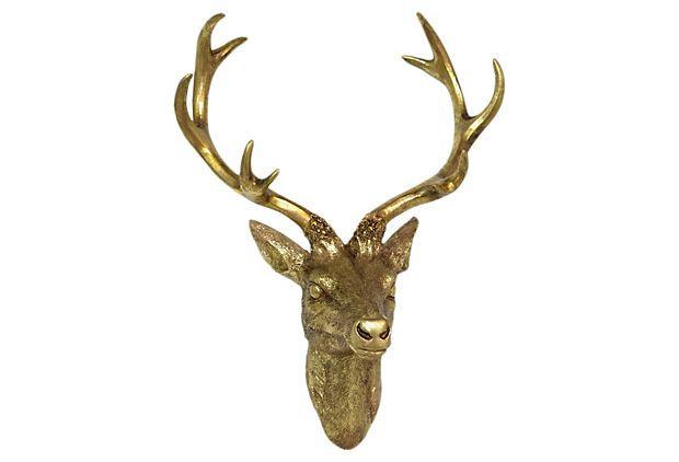 Deer PlaqueWall Decor, Deer Wall, Deer Plaque, Gold Deer, Living Room, Head Wall, Deer Heads, Hands Deer, Antiques Gold