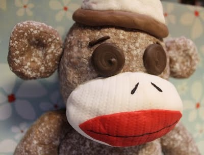 Sock Monkey cake. im so think im going to try and do this for isaacs bday lol so cute