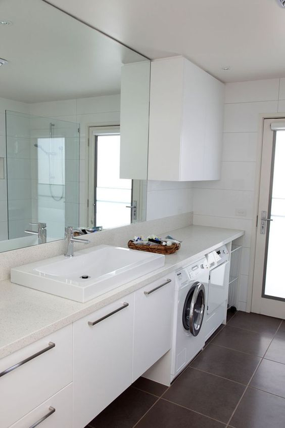 Hi there! Today I went searching for a laundry and bathroom combination. If you're stuck for space, or just want to use your wet areas more efficiently, then doing this combo is a winner! Check out these ideas… via Definitely a space saver here. I like that the shower has the feature tile and the …
