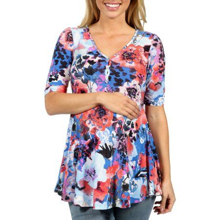 24/7 Comfort Apparel Country Club Casual Floral Maternity Tunic Top