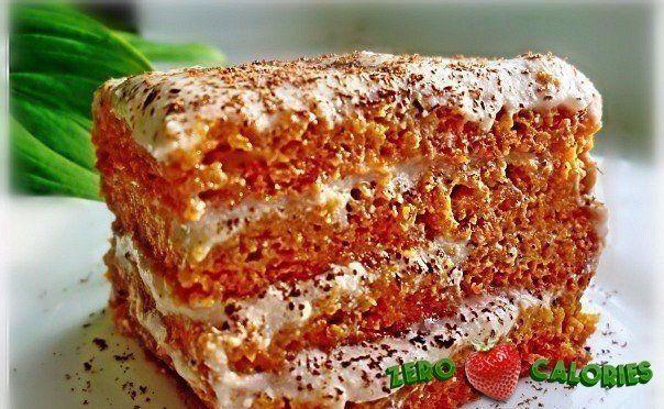 Морковный тортик с творожно- банановым кремом на 100грамм - 112.99 ккал, Б/Ж/У - 7.85/4.19/10.81