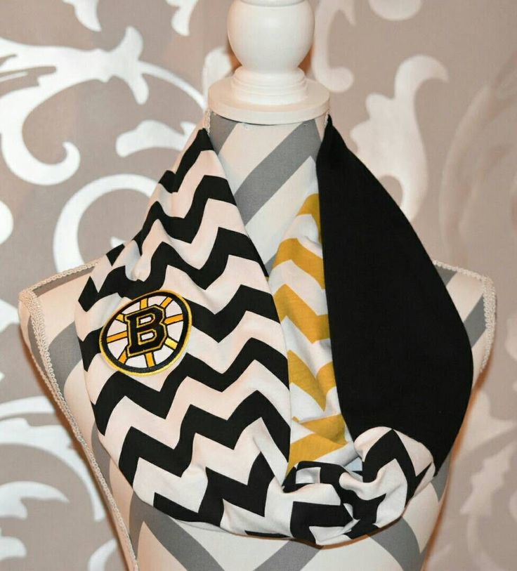 Boston Bruins Scarf Chevron Print Infinity Scarf with Embroidered NHL Logo Ladies NHL Accessories Hockey Clothing