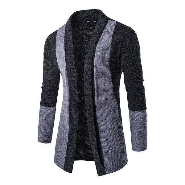 Autumm Fashion Cardigan Sweater Mens Casual Trends Knitwear Stitching Solid Color Cardigan at Banggood