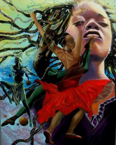 Art Commission Job for African Cultural Art Center-The Other World of Dance-2011----4ft/5ft