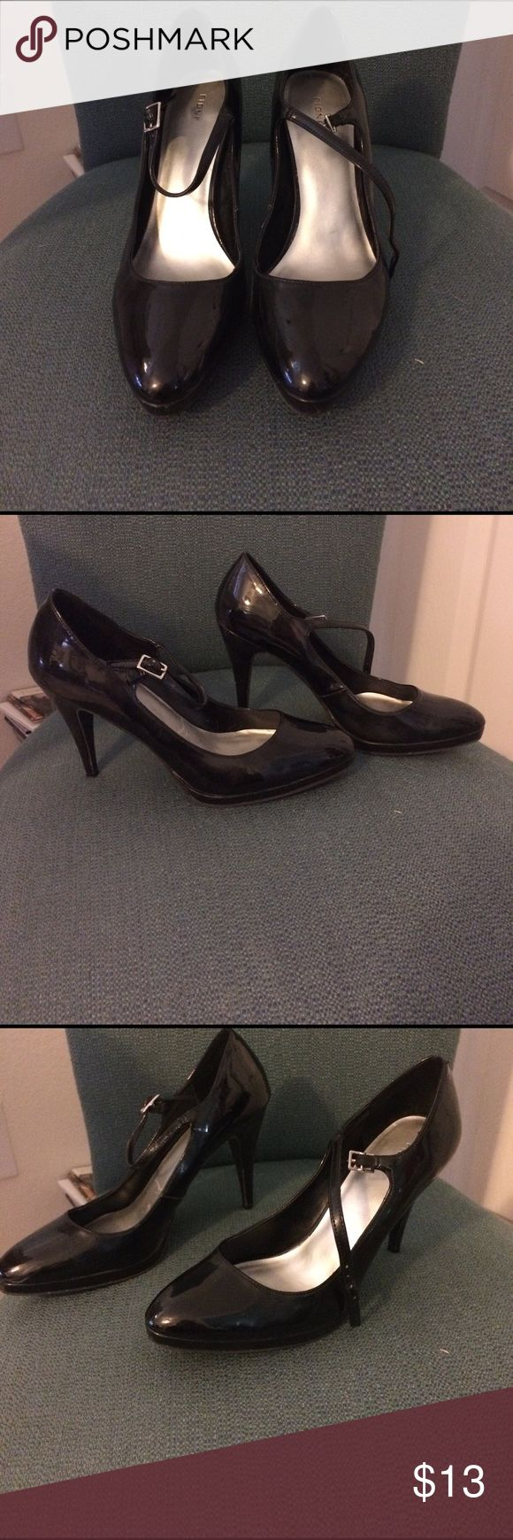 Fiona shiny black Mary Jane heels Well worn could be improved with cleaning. Slightly rounded pointy toe with a small platform on toe high heels. Mary Jane, patent shine. Scratches, wear and dullness in some spots. Straps are used but still work fine. All man made materials FIONI Clothing Shoes Heels