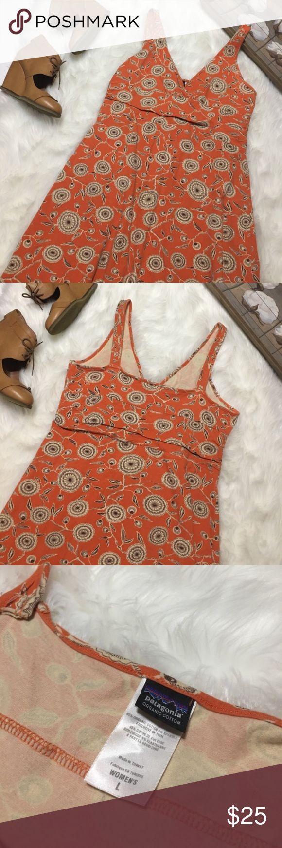 Patagonia Dress Orange Floral print dress by Patagonia. Soft and somewhat stretchy material. Very comfortable! Size L Patagonia Dresses