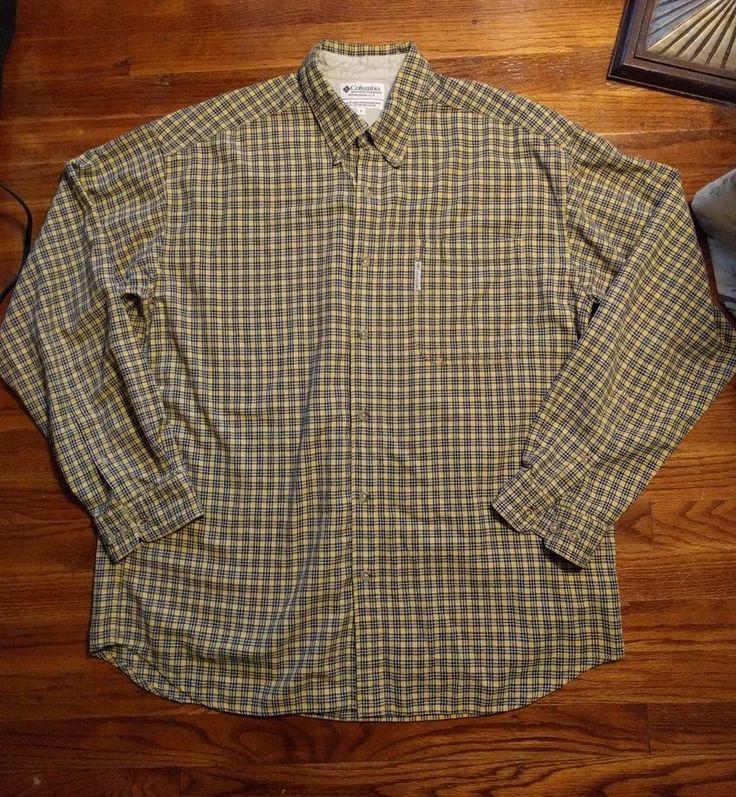 Columbia Sportswear Company Mens Button Front Shirt Yellow Black Plaid Cotton XL #Columbia #ButtonFront
