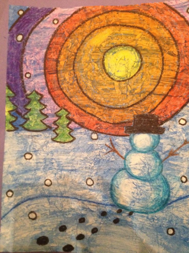 Ted Harrison inspired winter wax resist. Looking at foreground, middle ground, background.