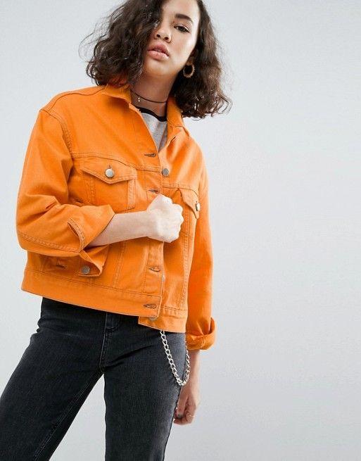 ASOS Denim Jacket in Orange with Contrast Stitch