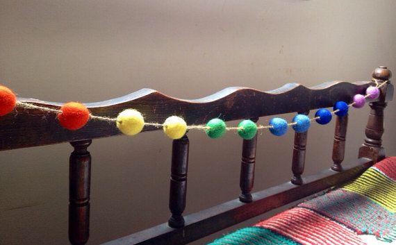 Rainbow Fair Trade felt ball garland (approx 110cm)