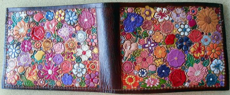 Custom Order for pattyz Leather Single Fold Wallet with  Flower Garden Design Made in GA USA OOAK by galeatherlady on Etsy