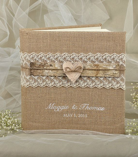 Rustic Wedding Guest Book Burlap Lace by 4invitationwedding