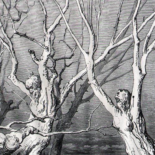 Dantes Hölle, Gustave Doré - Die Göttliche Komödie - Männer werden in Bäume verwandelt