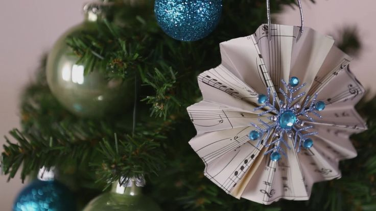 Classically beautiful results and ridiculously easy prep in the same ornament? Believe. Grab some sheet music, glue, and a decorative brad, and follow along! Check online for printable sheet music if you don't have any on hand./