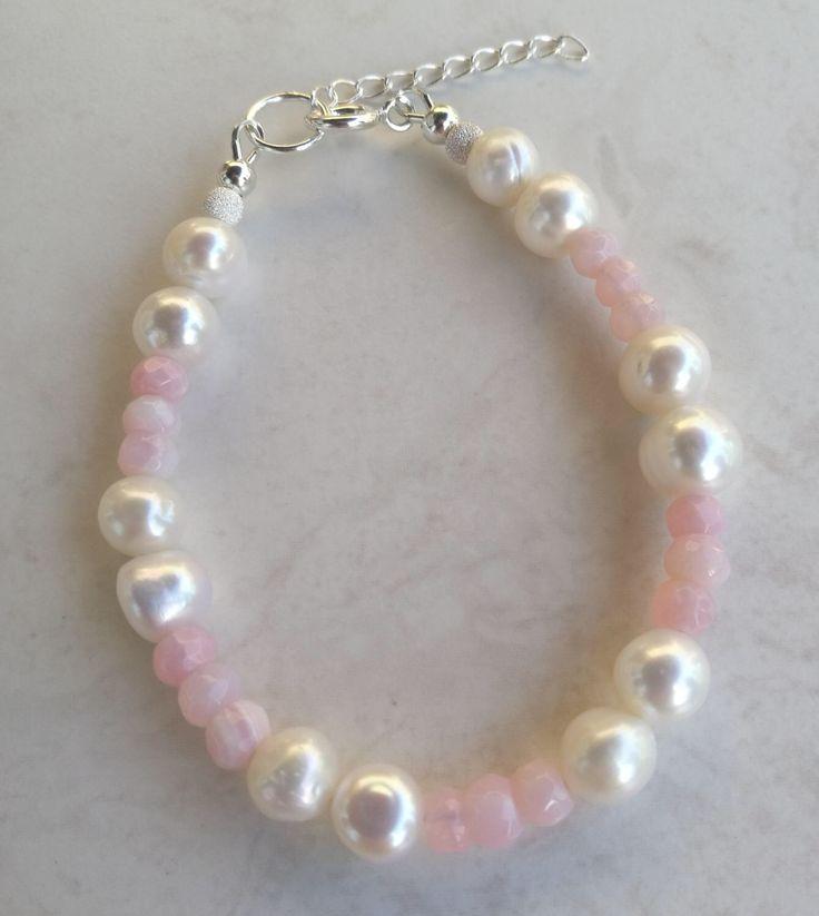 Pearl, pearl bracelet, pink opal, sterling silver bracelet, June birthstone, October birthstone, gemstone bracelet, wedding jewellery, gift by FuchsiaButterfly on Etsy https://www.etsy.com/uk/listing/520914335/pearl-pearl-bracelet-pink-opal-sterling