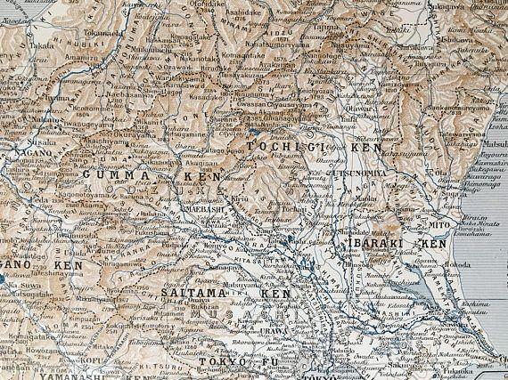 1915.JAPÓN.Mapa de la región de Tokyo  Hondo Central Lámina