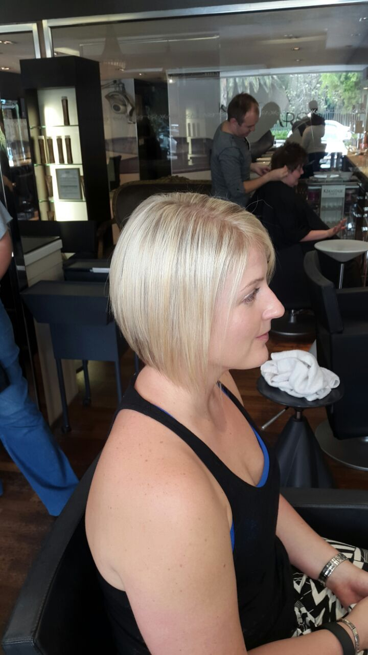 stunning blonde, cut and style done by Tanya