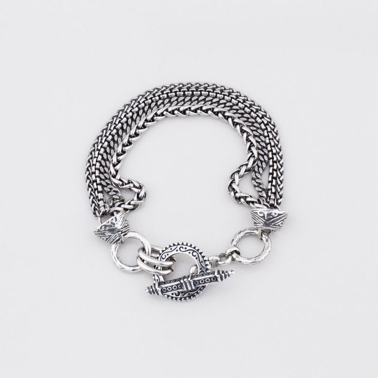 #miglio B1173 Multi-strand #bracelet in burnished silver with detailed caps