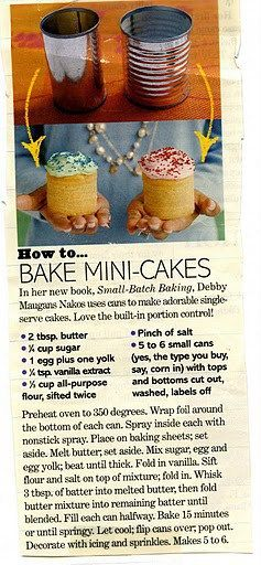 Mini Cakes or Tin cake... On one of the web they said that because most cans has PBA lined, that was better to use can from organic products, they usually are PBA free...