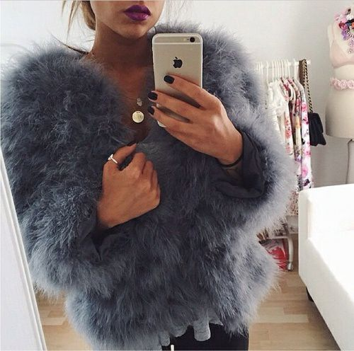Faux fur jakke - Grå                                                                                                                                                                                 More