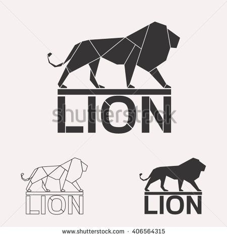 Lion logo set. Lion geometric lines silhouette isolated on white background vintage vector design element illustration set