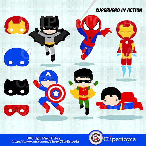 Superhero in action Digital Clipart / Super Hero Clipart, Superboys clip art /printable superhero masks/ Instant Download