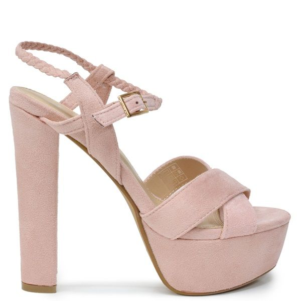 Pink high-heel sandal with suede texture, platform and crossed straps. Features brown braided ankle strap. Fastens with adjustable ankle strap.
